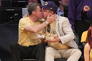 Will Ferrell, John C. Reilly Kiss at L.A. Lakers Game [PHOTO]